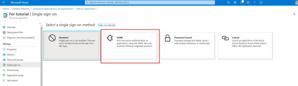 Ms azure select single sign on saml.png