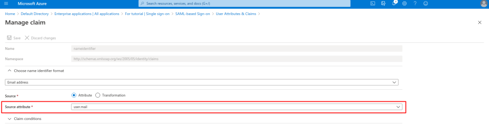 Ms azure user attributes and claims identifier mail.png